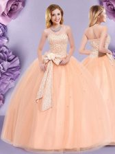 Ideal Peach Zipper Ball Gown Prom Dress Beading and Bowknot Sleeveless Floor Length