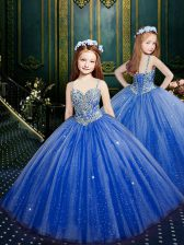 Organza Sleeveless Floor Length Child Pageant Dress and Beading and Sequins
