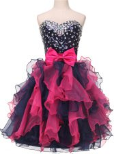 Comfortable Organza Sweetheart Sleeveless Lace Up Beading and Ruffles and Bowknot Homecoming Dress in Multi-color