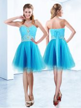Custom Made Organza Sweetheart Sleeveless Lace Up Beading and Ruching Prom Party Dress in Blue