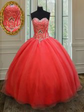 Edgy Coral Red Ball Gowns Sweetheart Sleeveless Organza Floor Length Lace Up Beading Quince Ball Gowns
