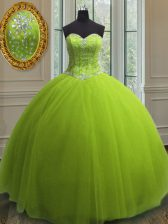 Latest Sleeveless Floor Length Beading and Sequins Lace Up Quince Ball Gowns with Yellow Green