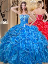 Fashion Floor Length Lace Up Vestidos de Quinceanera Blue for Military Ball and Sweet 16 and Quinceanera with Embroidery and Ruffles
