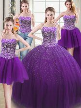 Four Piece Floor Length Ball Gowns Sleeveless Purple Quinceanera Gowns Lace Up