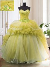 Light Yellow Ball Gowns Organza Sweetheart Sleeveless Beading and Ruffled Layers With Train Lace Up Ball Gown Prom Dress Court Train