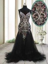Adorable Mermaid Black Spaghetti Straps Neckline Beading and Appliques Homecoming Dress Sleeveless Zipper
