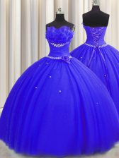 Gorgeous Handcrafted Flower Beading and Ruching and Hand Made Flower Quinceanera Dress Royal Blue Lace Up Sleeveless Floor Length