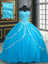 High Quality Sleeveless Brush Train Lace Up With Train Beading and Appliques Quinceanera Gowns