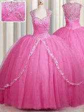 Zipper Up Rose Pink Zipper Quinceanera Gowns Beading and Appliques Cap Sleeves With Brush Train