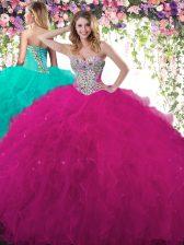 Adorable Fuchsia Sleeveless Beading and Ruffles Floor Length Ball Gown Prom Dress