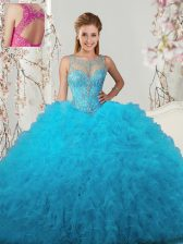 Scoop Tulle Sleeveless Floor Length Quinceanera Dress and Beading and Ruffles