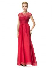 Shining Scoop Coral Red Sleeveless Beading and Ruching Floor Length Evening Dress