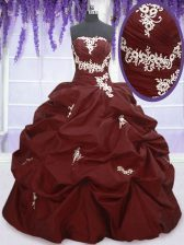 Burgundy Ball Gowns Taffeta Strapless Sleeveless Appliques and Pick Ups Floor Length Lace Up Sweet 16 Quinceanera Dress