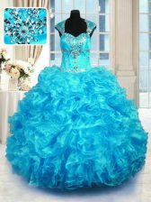 Fantastic Aqua Blue Quinceanera Dresses Military Ball and Sweet 16 and Quinceanera with Beading and Ruffles Straps Cap Sleeves Lace Up