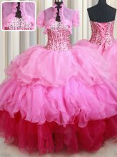 Organza Sweetheart Sleeveless Lace Up Ruffles and Sequins Sweet 16 Dresses in Rose Pink