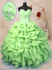 Simple Beading and Ruffles and Pick Ups Vestidos de Quinceanera Yellow Green Lace Up Sleeveless Floor Length