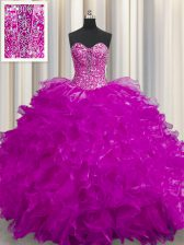 Suitable See Through Fuchsia Lace Up Sweet 16 Quinceanera Dress Beading and Ruffles Sleeveless Floor Length