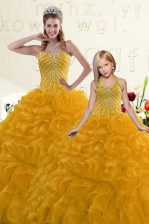 Colorful Beading and Ruffles 15 Quinceanera Dress Gold Lace Up Sleeveless Floor Length
