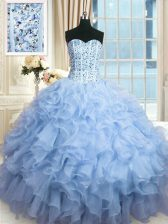 Luxury Light Blue Ball Gowns Organza Sweetheart Sleeveless Beading and Ruffles and Sequins Floor Length Lace Up Sweet 16 Dress