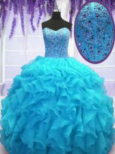 Floor Length Lace Up Quinceanera Gown Baby Blue for Military Ball and Sweet 16 and Quinceanera with Beading and Ruffles