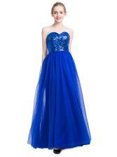 Royal Blue Tulle Zipper Prom Dress Sleeveless Floor Length Sequins