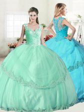Fancy Straps Sleeveless Lace Up Floor Length Beading and Lace and Appliques Quinceanera Gowns