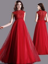 Lace Prom Evening Gown Red Zipper Cap Sleeves Floor Length