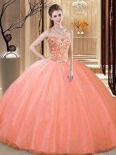 Tulle Sweetheart Sleeveless Lace Up Embroidery Sweet 16 Dresses in Peach