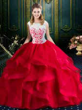 Square Sleeveless Tulle Quince Ball Gowns Lace and Ruffles Brush Train Zipper