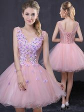 Gorgeous Sleeveless Organza Mini Length Lace Up Prom Gown in Pink with Hand Made Flower