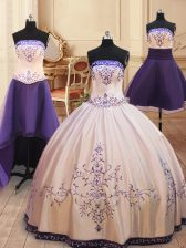 Four Piece White Satin Zipper Strapless Sleeveless Floor Length Quince Ball Gowns Beading and Embroidery