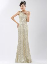 Colorful One Shoulder Sleeveless Sequins Zipper