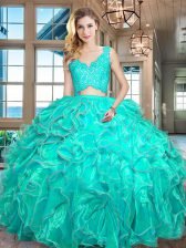 Turquoise Organza Zipper V-neck Sleeveless Floor Length Quince Ball Gowns Lace and Ruffles