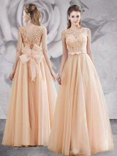 Tulle Sleeveless Floor Length Dress for Prom and Appliques and Bowknot