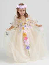 Fabulous Ankle Length Champagne Flower Girl Dresses Tulle Half Sleeves Appliques and Hand Made Flower