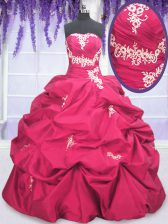 Smart Taffeta Strapless Long Sleeves Lace Up Appliques and Pick Ups Quinceanera Dresses in Hot Pink
