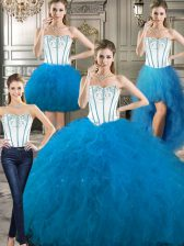 Glorious Four Piece Baby Blue Lace Up Sweetheart Embroidery and Ruffles Sweet 16 Dresses Tulle Sleeveless