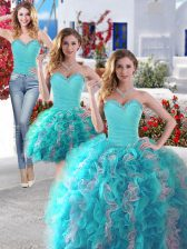 Three Piece Sweetheart Sleeveless Lace Up Sweet 16 Dress White and Baby Blue Organza