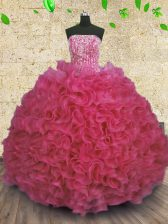 New Arrival Floor Length Ball Gowns Sleeveless Hot Pink 15th Birthday Dress Lace Up