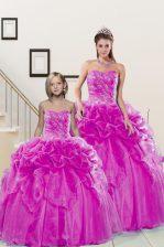 Fantastic Pick Ups Floor Length Fuchsia Sweet 16 Dress Sweetheart Sleeveless Lace Up