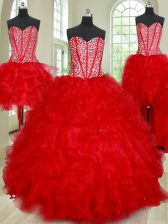 Four Piece Organza Sweetheart Sleeveless Lace Up Beading and Ruffles Sweet 16 Dresses in Red