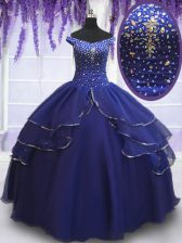Trendy Royal Blue Quinceanera Dress Military Ball and Sweet 16 and Quinceanera with Beading and Ruffled Layers and Sequins Off The Shoulder Sleeveless Lace Up