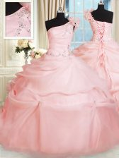 Cute One Shoulder Sleeveless Quinceanera Dresses Floor Length Beading and Hand Made Flower Pink Organza