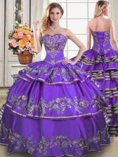 Eggplant Purple Sweetheart Neckline Beading and Embroidery and Ruffled Layers Quinceanera Gown Sleeveless Lace Up