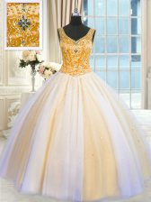 Romantic Sequins Ball Gowns Vestidos de Quinceanera Multi-color V-neck Tulle Sleeveless Floor Length Lace Up