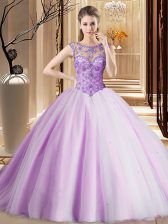 Latest Scoop Beading Quinceanera Gowns Lavender Lace Up Sleeveless Brush Train