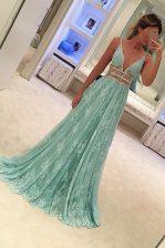 High Class Lace A-line Sleeveless Apple Green Prom Dresses Sweep Train Zipper