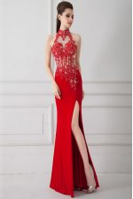 Red Sleeveless Floor Length Beading and Appliques Zipper Prom Dresses