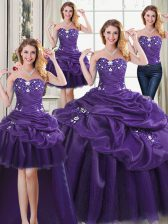Best Four Piece Purple Lace Up Sweetheart Beading and Appliques and Pick Ups 15 Quinceanera Dress Organza Sleeveless