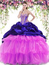 Glittering Sleeveless Brush Train Lace Up With Train Beading and Ruffled Layers and Pick Ups Vestidos de Quinceanera